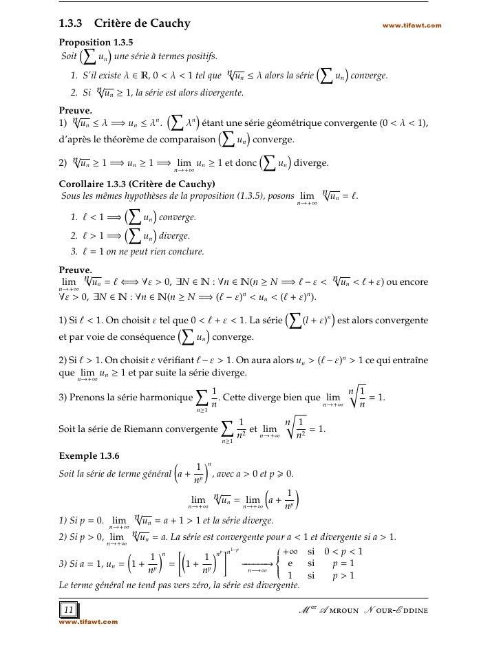 1.3.3 Critère de Cauchy                                                               www.tifawt.comProposition 1.3.5Soit ...