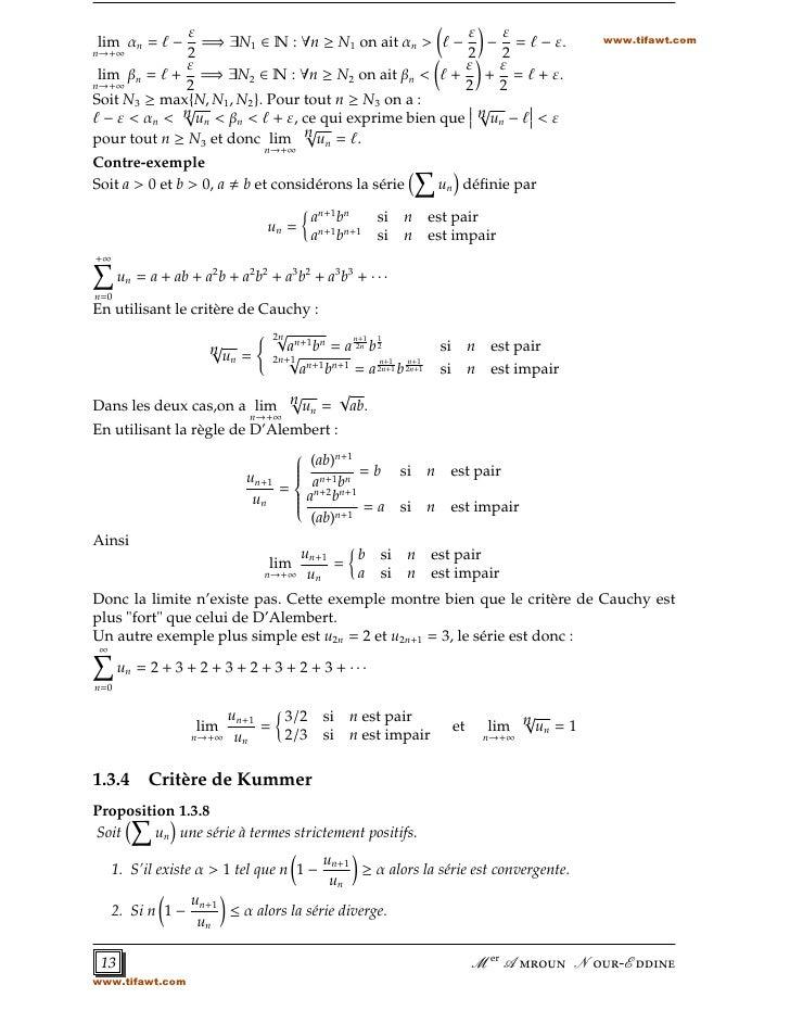 ε                                        ε    ε                            www.tifawt.comlim αn = ℓ −    =⇒ ∃N1 ∈ N : ∀n ≥...