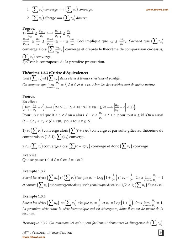 1.      vn converge =⇒         un converge.                                      www.tifawt.com   2.      un diverge =⇒   ...