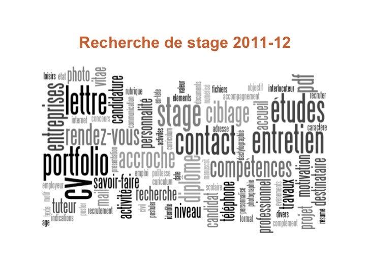 Recherche de stage 2011-12