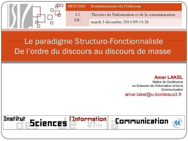 UE2L73U1  L2 LIC  Fondamentaux de l'infocom  Théories de l'information et de la communication mardi 3 décembre 2013 09:13:...