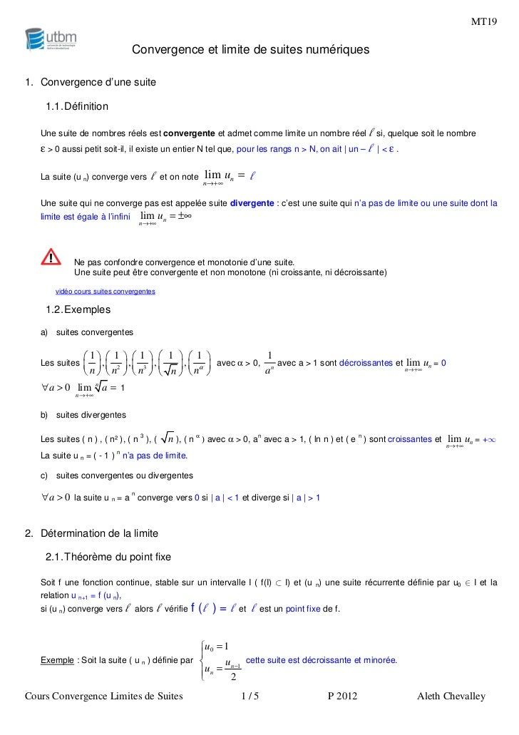 MT19                                  Convergence et limite de suites numériques1. Convergence d'une suite    1.1. Définit...