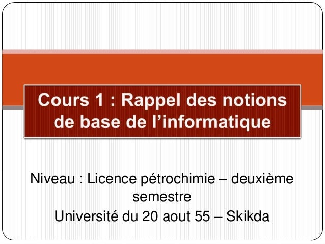 Niveau : Licence pétrochimie – deuxième semestre Université du 20 aout 55 – Skikda