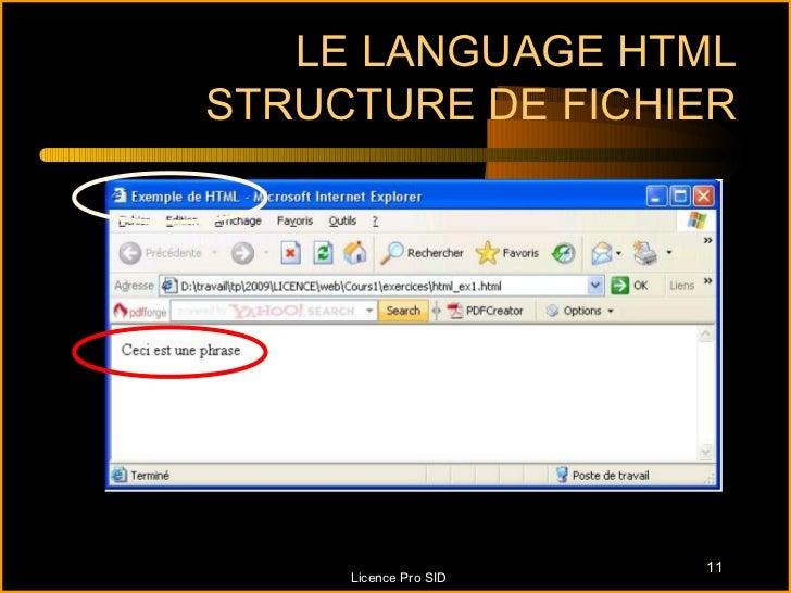 LE LANGUAGE HTMLSTRUCTURE DE FICHIER                       11     Licence Pro SID