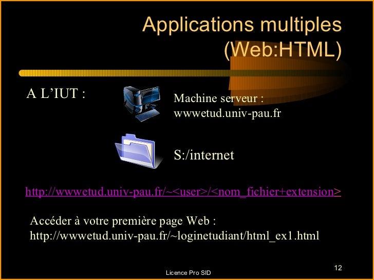 Applications multiples                              (Web:HTML)A L'IUT :                  Machine serveur :                ...