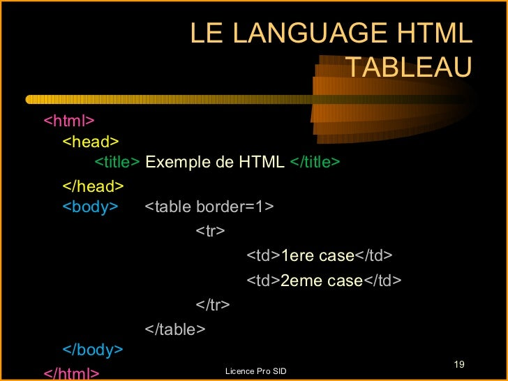 LE LANGUAGE HTML                            TABLEAU<html>  <head>      <title> Exemple de HTML </title>  </head>  <body>  ...