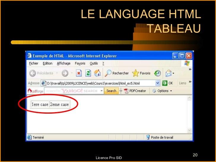 LE LANGUAGE HTML         TABLEAU                    20  Licence Pro SID