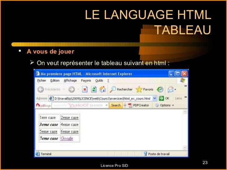 LE LANGUAGE HTML                               TABLEAU A vous de jouer    On veut représenter le tableau suivant en html...