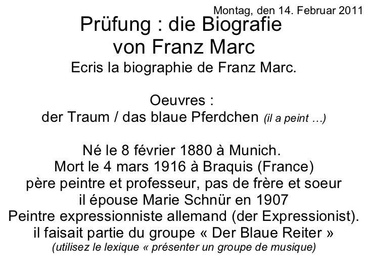 Prüfung : die Biografie  von Franz Marc Ecris la biographie de Franz Marc. Oeuvres :  der Traum / das blaue Pferdchen  (il...