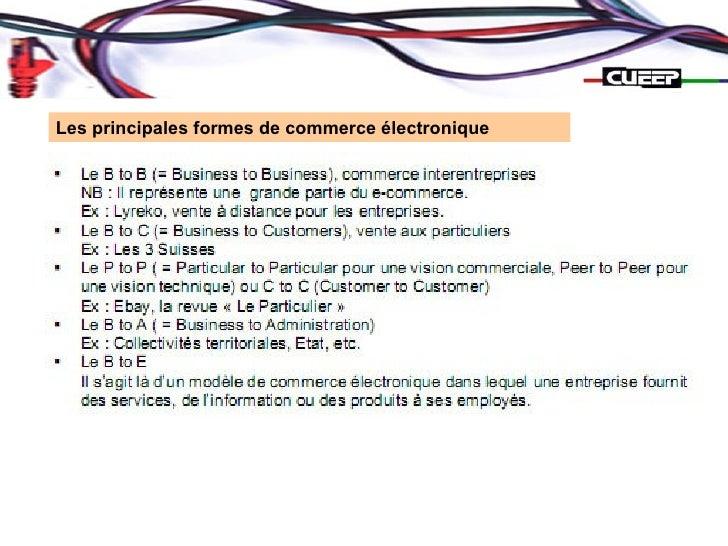 Les principales formes de commerce électronique