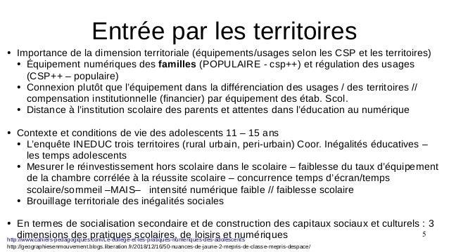 5 ● Importance de la dimension territoriale (équipements/usages selon les CSP et les territoires) ● Équipement numériques ...