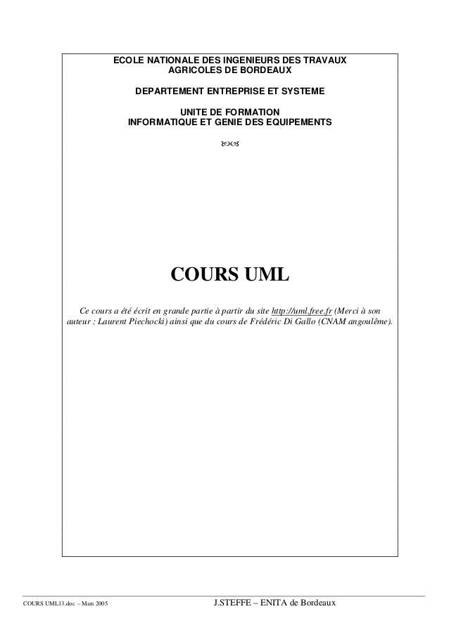 ECOLE NATIONALE DES INGENIEURS DES TRAVAUX                                        AGRICOLES DE BORDEAUX                   ...