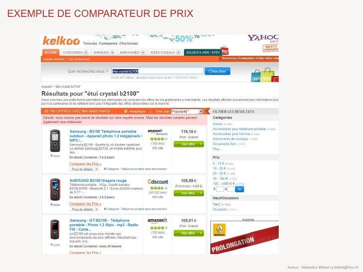 EXEMPLE DE COMPARATEUR DE PRIX                                      Auteur : Sébastien Billard (s.billard@free.fr)