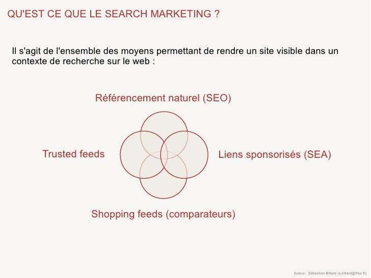 QU'EST CE QUE LE SEARCH MARKETING ?   Il s'agit de l'ensemble des moyens permettant de rendre un site visible dans un cont...