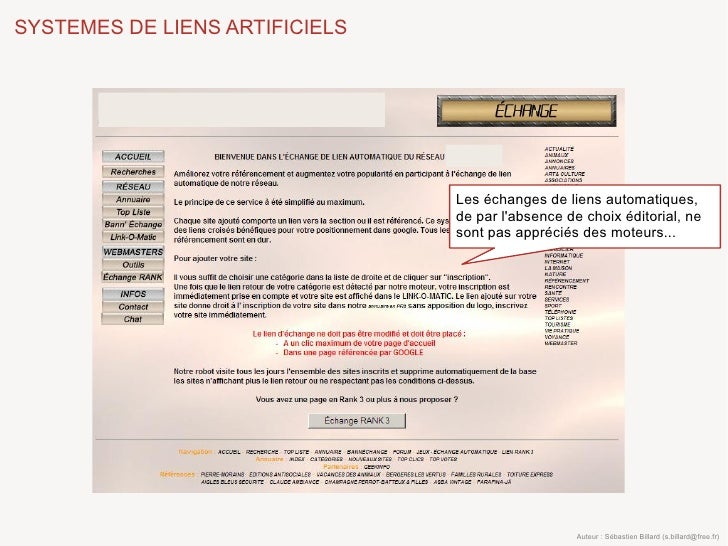 SYSTEMES DE LIENS ARTIFICIELS                                     Les échanges de liens automatiques,                     ...