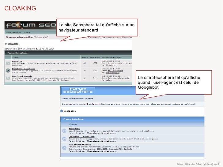 CLOAKING             Le site Seosphere tel qu'affiché sur un            navigateur standard                               ...