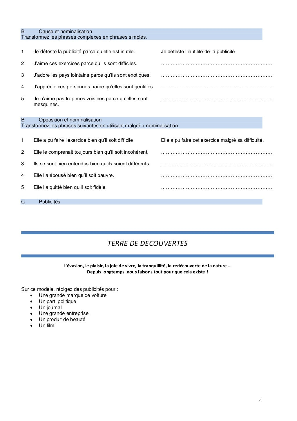 B1 Cours 3 Exercices nominalisation