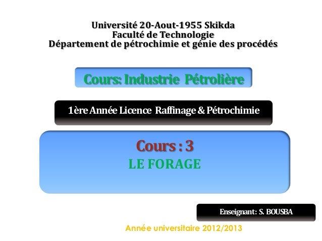 Université 20-Aout-1955 Skikda Faculté de Technologie Département de pétrochimie et génie des procédés  Cours: Industrie P...