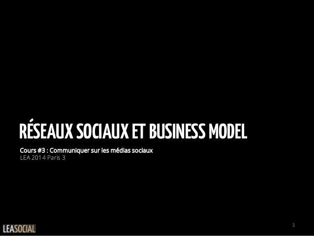 RÉSEAUXSOCIAUXETBUSINESSMODEL Cours #3 : Communiquer sur les médias sociaux LEA 2014 Paris 3 1