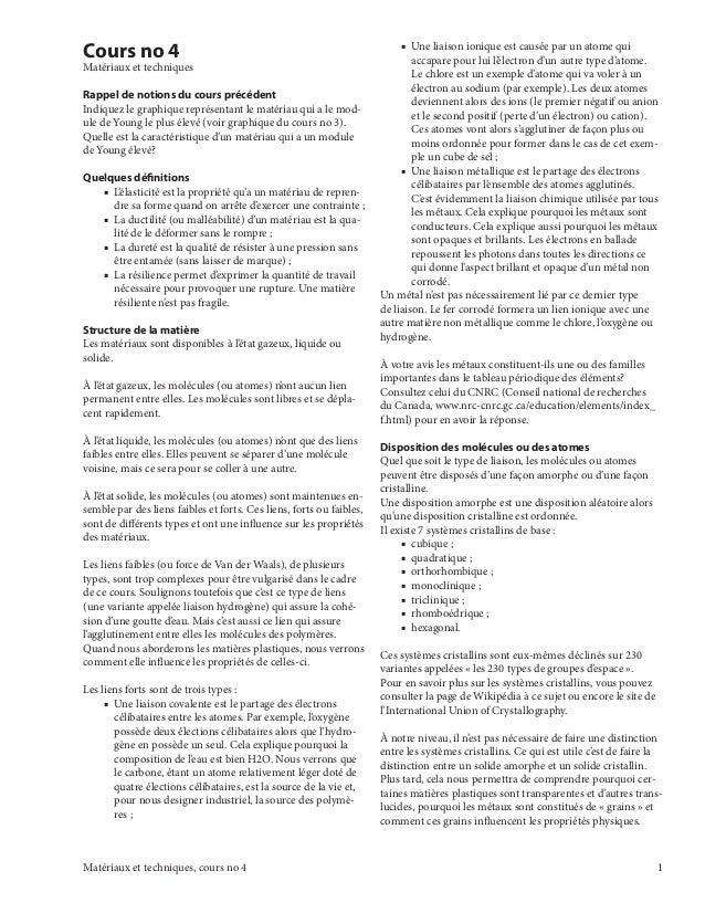 Matériaux et techniques, cours no 4  Cours no 4  Matériaux et techniques  Rappel de notions du cours précédent  Indiquez l...