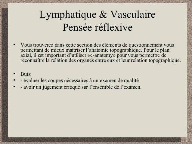 Lymphatique & Vasculaire Pensée réflexive • Vous trouverez dans cette section des éléments de questionnement vous permetta...
