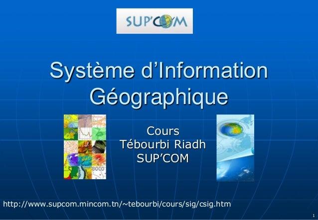1 Système d'Information Géographique Cours Tébourbi Riadh SUP'COM http://www.supcom.mincom.tn/~tebourbi/cours/sig/csig.htm
