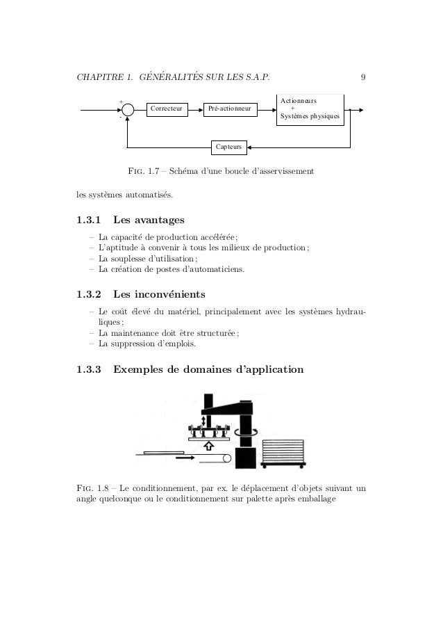 CHAPITRE 1. G´EN´ERALIT´ES SUR LES S.A.P. 9  Pré-actionneur  Actionneurs  +  Systèmes physiques  Capteurs  Correcteur  +  ...