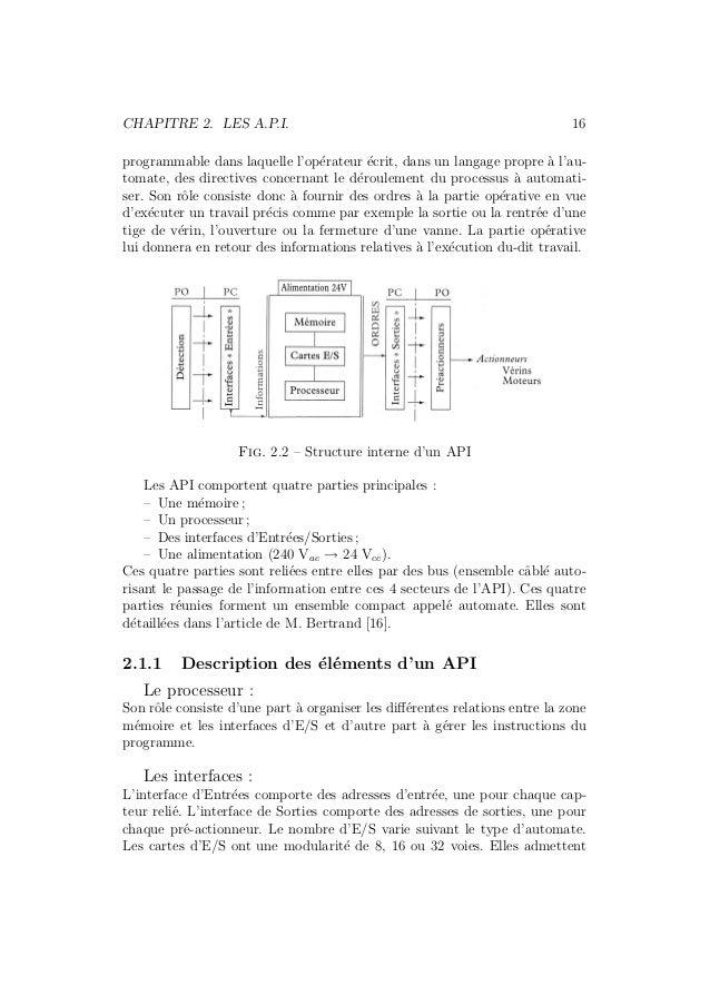 CHAPITRE 2. LES A.P.I. 16  programmable dans laquelle l'op´erateur ´ecrit, dans un langage propre `a l'au-tomate,  des dir...