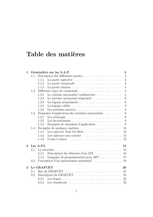 Table des mati`eres  1 G´en´eralit´es sur les S.A.P. 3  1.1 Description des diff´erentes parties . . . . . . . . . . . . ....