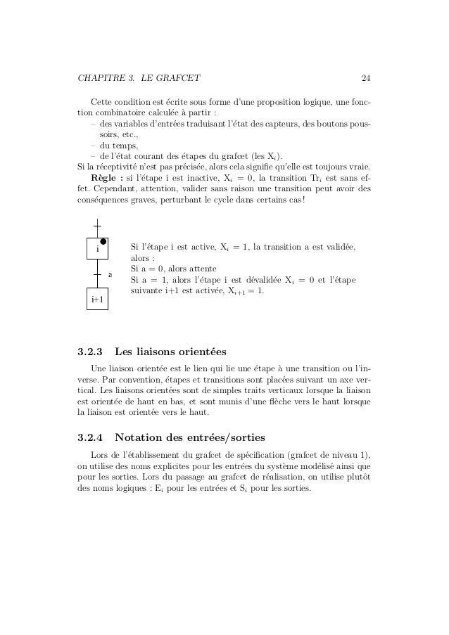 CHAPITRE 3. LE GRAFCET 24  Cette condition est ´ecrite sous forme d'une proposition logique, une fonc-tion  combinatoire c...