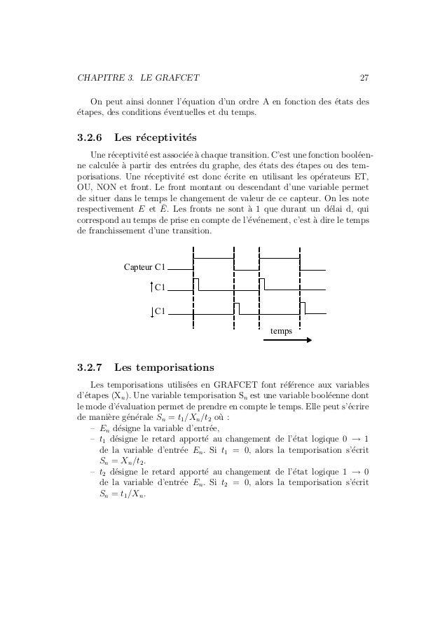 CHAPITRE 3. LE GRAFCET 27  On peut ainsi donner l'´equation d'un ordre A en fonction des ´etats des  ´etapes, des conditio...