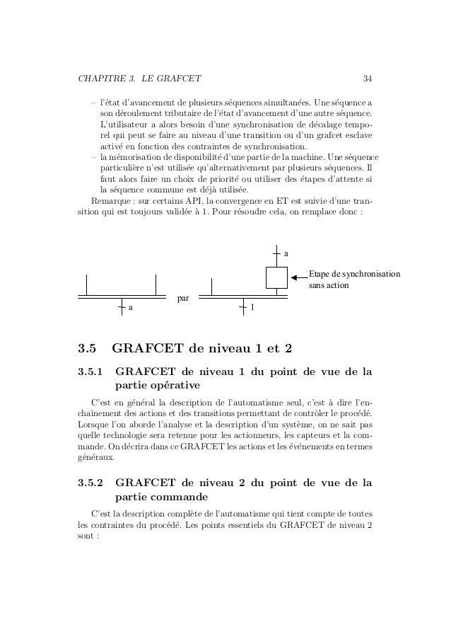 CHAPITRE 3. LE GRAFCET 34  – l'´etat d'avancement de plusieurs s´equences simultan´ees. Une s´equence a  son d´eroulement ...