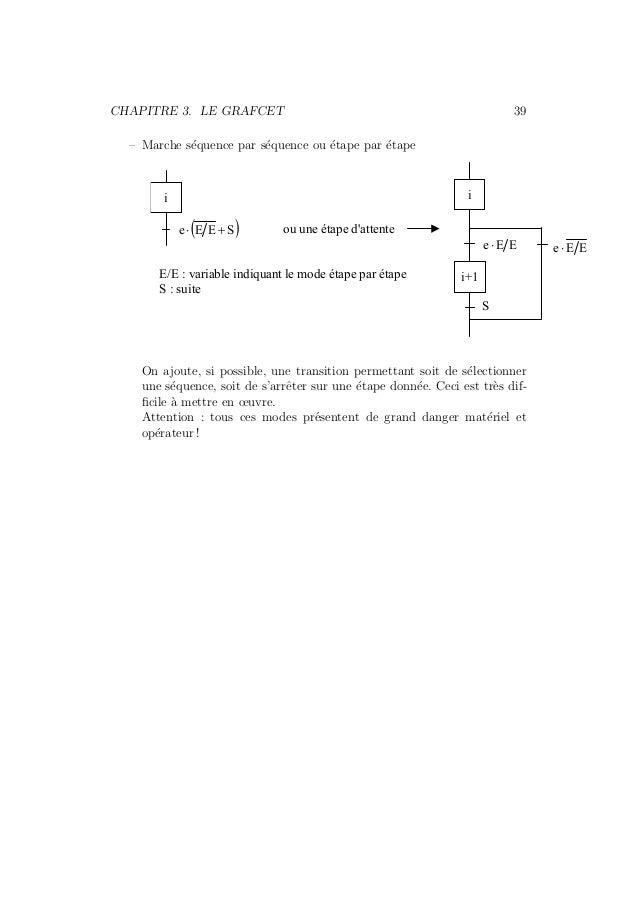 CHAPITRE 3. LE GRAFCET 39  – Marche s´equence par s´equence ou ´etape par ´etape  i  i+1  e ⋅ E E  S  i  e ⋅ (E E + S) ou ...
