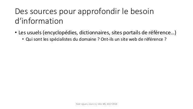 Des sources pour approfondir le besoin d'information • Les usuels (encyclopédies, dictionnaires, sites portails de référen...