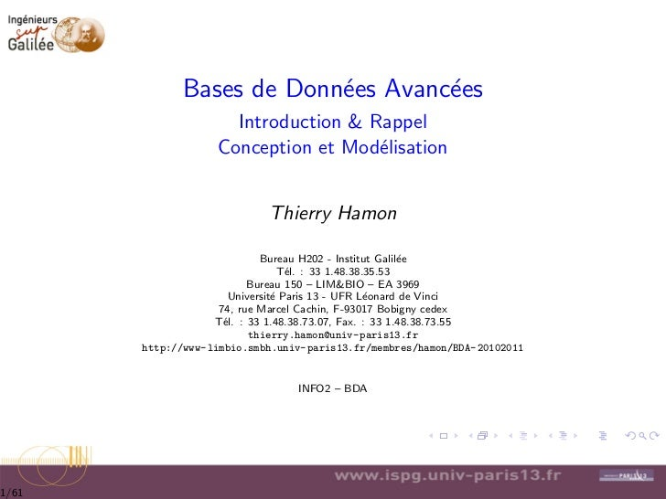 Bases de Donn´es Avanc´es                          e        e                     Introduction & Rappel                   ...