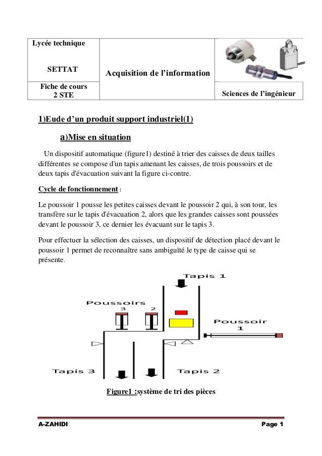 Lycée technique  SETTAT  Acquisition de l'information  Fiche de cours 2 STE  Sciences de l'ingénieur  1)Eude d'un produit ...