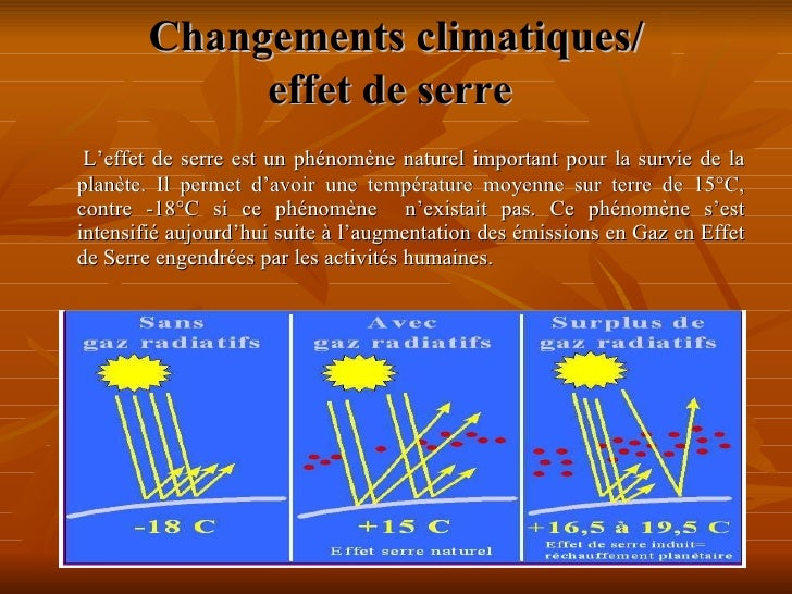 Changements climatiques/ effet de serre   <ul><li>L'effet de serre est un phénomène naturel important pour la survie de la...