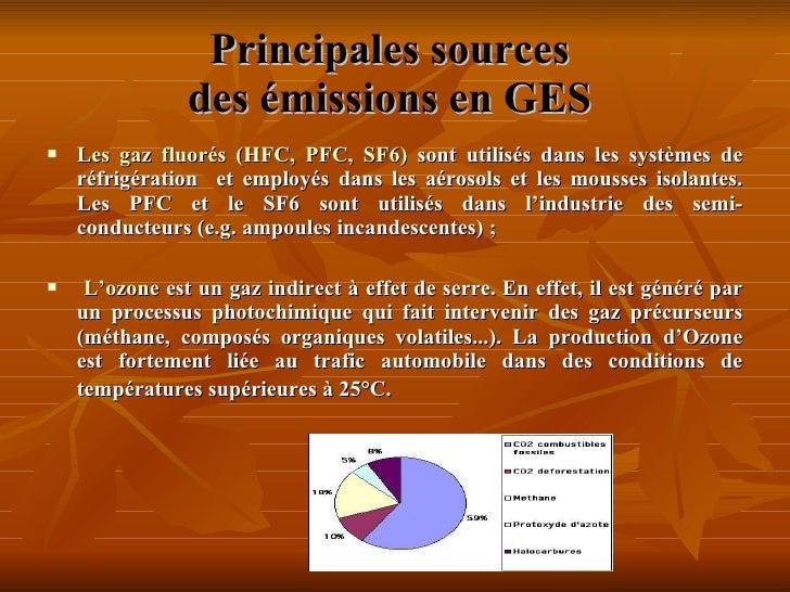 Principales sources  des émissions en GES <ul><li>Les gaz fluorés (HFC, PFC, SF6)  sont utilisés dans les systèmes de réf...