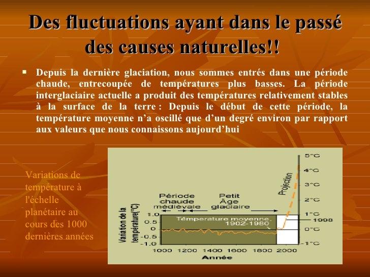Des fluctuations ayant dans le passé des causes naturelles!!   <ul><li>Depuis la dernière glaciation, nous sommes entrés d...