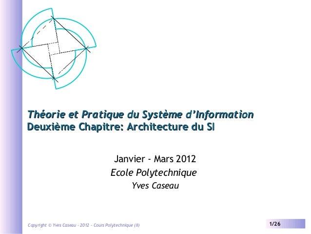 Théorie et Pratique du Système d'Information Deuxième Chapitre: Architecture du SI Janvier - Mars 2012 Ecole Polytechnique...