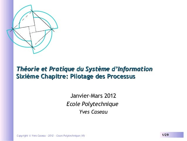 Théorie et Pratique du Système d'Information Sixième Chapitre: Pilotage des Processus Janvier-Mars 2012 Ecole Polytechniqu...