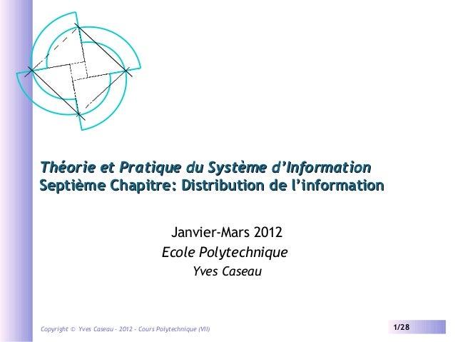 Théorie et Pratique du Système d'Information Septième Chapitre: Distribution de l'information Janvier-Mars 2012 Ecole Poly...