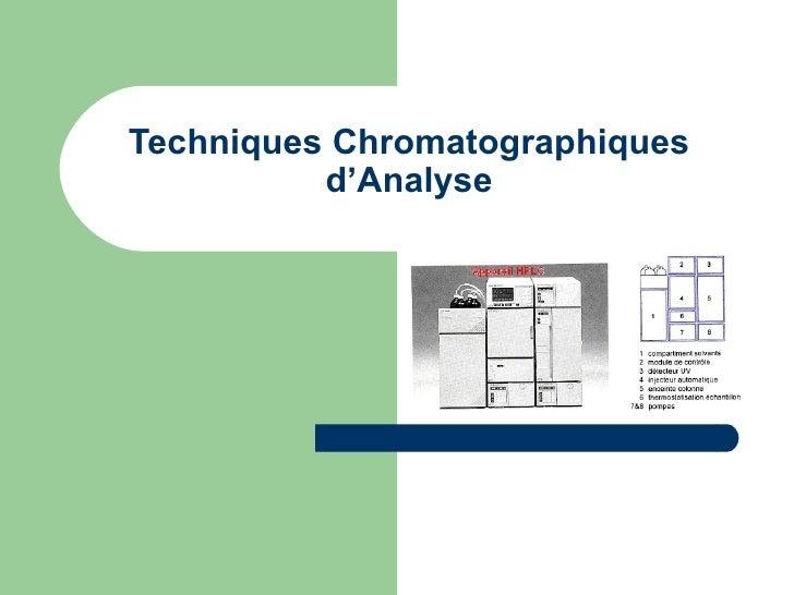 Techniques Chromatographiques d'Analyse