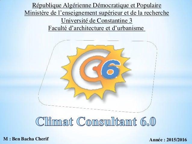 République Algérienne Démocratique et Populaire Ministère de l'enseignement supérieur et de la recherche Université de Con...
