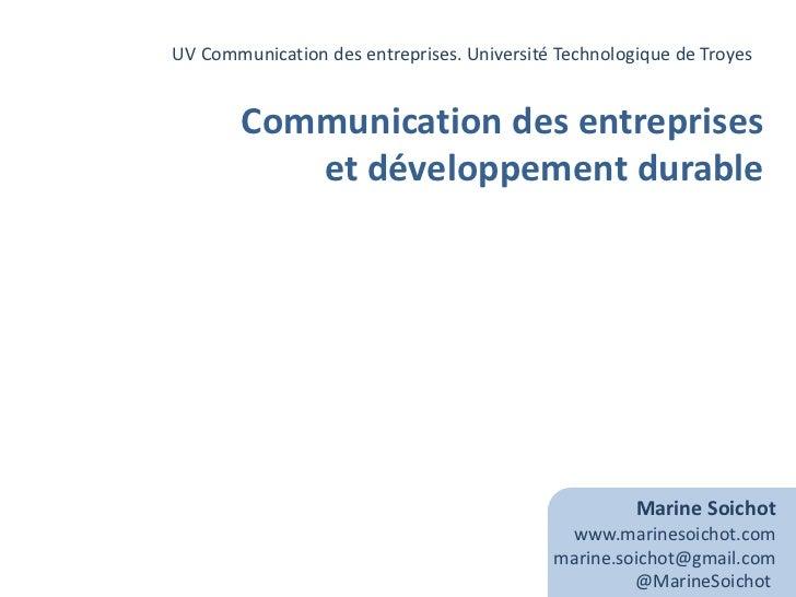 UV Communication des entreprises. Université Technologique de Troyes <br />Communication des entreprises<br />et développe...