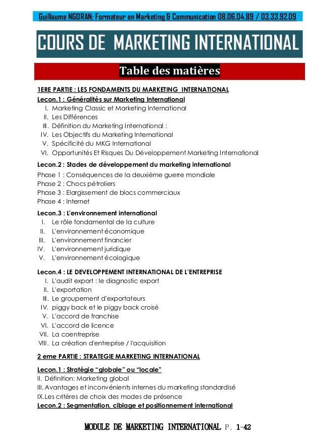 Guillaume NGORAN: Formateur en Marketing & Communication 08.06.04.89 / 03.33.92.09 MODULE DE MARKETING INTERNATIONAL P. 1-...