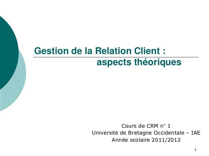 Gestion de la Relation Client :              aspects théoriques                        Cours de CRM n° 1            Univer...