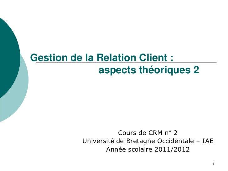 Gestion de la Relation Client :              aspects théoriques 2                     Cours de CRM n° 2          Universit...