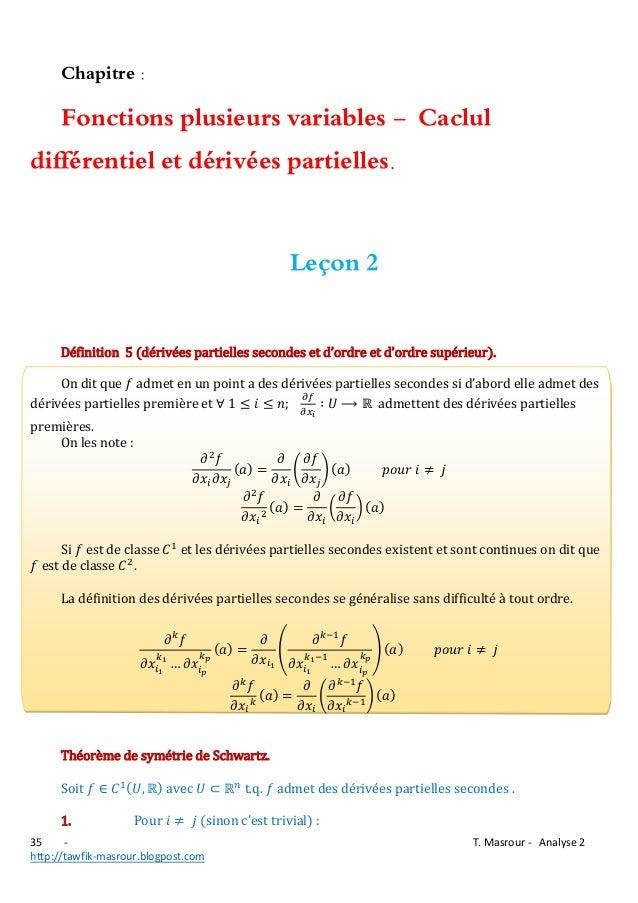 Chapitre :  Fonctions plusieurs variables - Caclul différentiel et dérivées partielles. Leçon 2 Définition 5 (  v  ll  c  ...