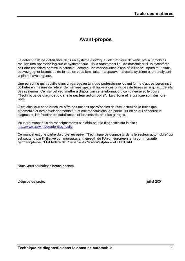 Table des matièresTechnique de diagnostic dans le domaine automobile 1Avant-proposLa détection dune défaillance dans un sy...